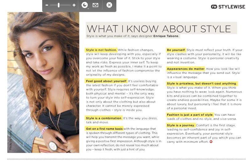 Enrique' Tabone on FM magazine shot by Kamy