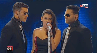 Screen Shots from the Malta Eurovision '13. Hand made Diamond inspired mic and ties.